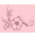 Retro floral card with beautiful flower vector image