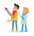 cartoon boy and girl set off firework rocket vector image vector image
