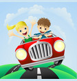 young man and woman in car vector image