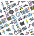 collection car repair service garage seamless vector image