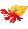 Cartoon hermit crab vector image vector image