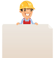 builder looking at blank poster on top vector image