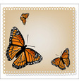 card with butterflies vector image