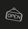 open hanging door plate simple icon on black vector image