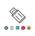 usb flash drive line icon memory stick sign vector image