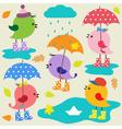 Colorful cute birds vector image