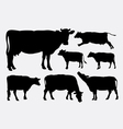 Cow animal silhouettes vector image