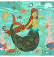 Cute awesome mermaid princess pattern vector image