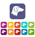 dachshund dog icons set vector image