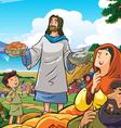 Jesus deliver food vector image