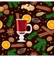 Mulled wine with spices seamless pattern vector image