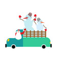 santa truck and snowmen christmas car new year vector image