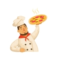 Chef Holding PizzaPart Of Italian Fast Food vector image vector image
