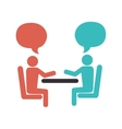 people talking in table icon vector image