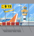 airport terminal with seats plane control tower vector image