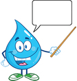 Water droplet cartoon character teaching vector image