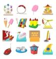 Amusement park cartoon icons vector image