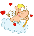 Cupid with Bow and Arrow Flying in Cloud vector image vector image