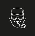 hipster with smoking pipe and sunglasses vector image