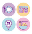 icon set delicious fast food vector image