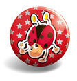 Ladybug on red badge vector image