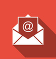 mail and e-mail icon isolated with long shadow vector image