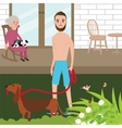 Man playing with dog shirt while old woman sitting vector image