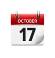 October 17 flat daily calendar icon Date vector image