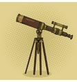 Old telescope pop art style vector image