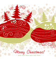 Ornate Christmas card with xmas trees vector image vector image