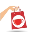 hand holds bag gift cup coffee design vector image