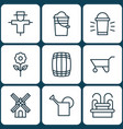 set of 9 plant icons includes hang lamp bucket vector image