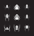 group of spiders on black background insect vector image vector image