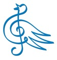 blue bird music vector image vector image
