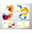 set of abstract colorful splash gift cards vector image vector image