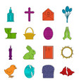 easter items icons doodle set vector image