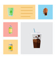 flat icon soda set of carbonated soda cup and vector image