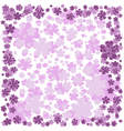 Floral frame with pink and purple flowers on white vector image