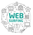 line flat circle web surfing vector image