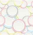 Seamless background of White plates with colorful vector image
