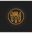 Spoon fork and knife golden icon vector image