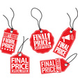 Final price red tag set vector image