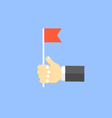 Businessman holding a red flag vector image