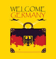 suitcase with the flag of germany and planes vector image