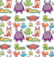 Seamless monsters vector image vector image