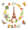Autumn in Paris Elegant card with floral wreath vector image vector image