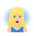 Surprised blond woman vector image