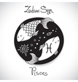 Pisces zodiac sign of horoscope circle emblem in vector image
