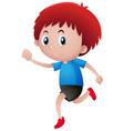 red hair boy walking vector image