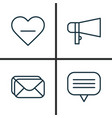 social icons set collection of bullhorn text vector image